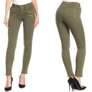 PAIGE Edgemont Army Green Skinny Jeans